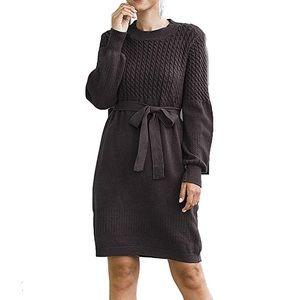 0812 Simplee Women's Turtleneck Puff Sleeve Dress